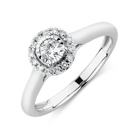 Engagement Ring with 1/4 Carat TW of Diamonds in 10kt White Gold