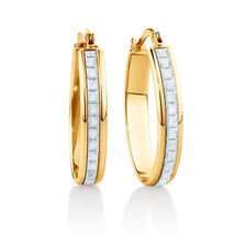 22mm Oval Glitter Hoop Earrings In 10kt Yellow Gold