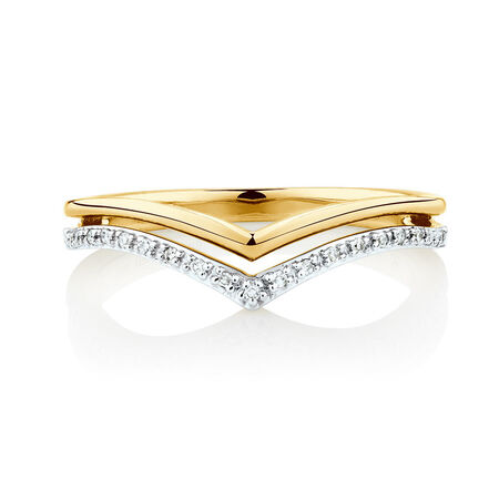 Wedding Band with Diamonds in 10ct Yellow & White Gold