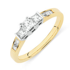 Online Exclusive - Three Stone Ring with 1/2 Carat TW of Diamonds in 18kt Yellow and White Gold