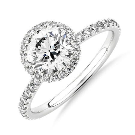 Sir Michael Hill Designer Halo Engagement Ring with 1.68 Carat TW of Diamonds in 18kt White Gold
