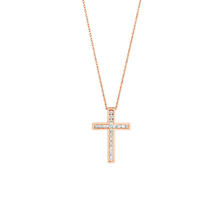 Cross Pendant in 10kt Rose Gold With 0.34 Carat TW of Diamonds