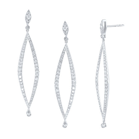 Drop Earrings with 1.30 Carat TW of Diamonds in 10kt White Gold