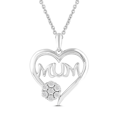 """""""Mum"""" Pendant with Diamonds in Sterling Silver"""