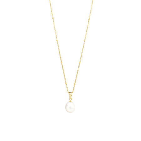 Pendant with Cultured Freshwater Pearls in10kt Yellow Gold