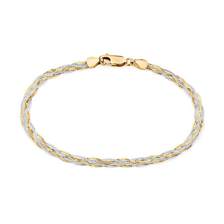 "19cm (7.5"") Fancy Bracelet in 10kt Yellow & White Gold"