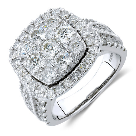 Cluster Halo Ring with 3 Carat TW of Diamonds in 10kt White Gold
