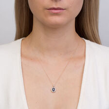 Pendant with Created Blue Sapphire & Diamonds in 10kt Yellow Gold