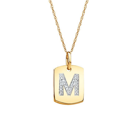 "M"" Initial Rectangular Pendant With Diamonds In 10kt Yellow Gold"