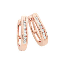 Huggie Earrings 0.15 Carat TW of Diamonds in 10kt Rose Gold