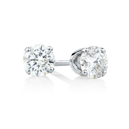 Solitaire Stud Earrings with 1/2 Carat TW of Diamonds in 10kt White Gold