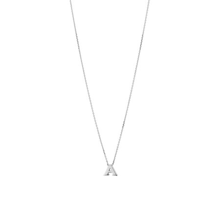 'A' Initial Necklace in Sterling Silver