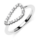 Organic Shape Ring with Cubic Zirconia in Sterling Silver