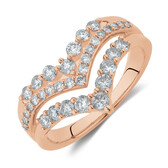 Three Row Chevron Ring with 3/4 Carat TW of Diamonds in 10kt Rose Gold