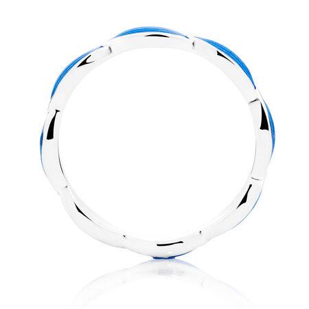 Sterling Silver & Blue Enamel Stack Ring