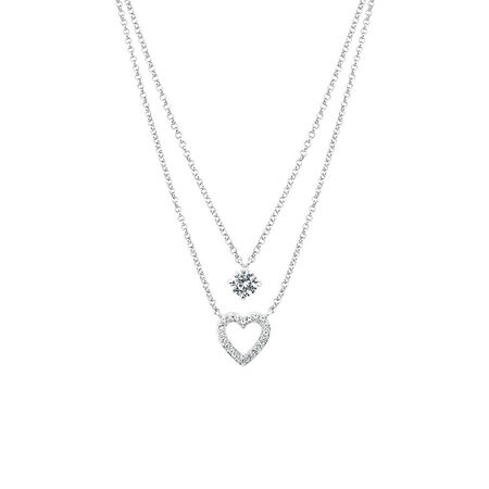 Heart Necklace with Created White Sapphire in Sterling Silver