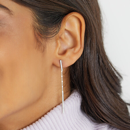 Double Bar And Chain Drop Earrings in Sterling Silver