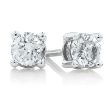 Northern Radiance Solitaire Stud Earrings with 0.60 Carat TW Certified Canadian Diamonds in 14kt White Gold