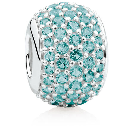 Pave Set Charm with Teal Crystal in Sterling Silver