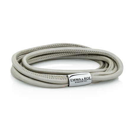 Wild Hearts Double Wrap Multi-strand Bracelet in Pearl Leather & Stainless Steel