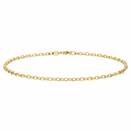 """27cm (11"""") Rolo Anklet in 10kt Yellow Gold"""