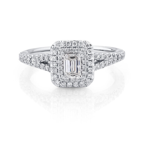 Arpeggio Diamond Engagement Ring With 0.87 Carat TW Of Diamonds In 14kt White And Rose Gold