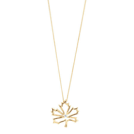 Maple Leaf Pendant with a Diamond in 10kt Yellow Gold