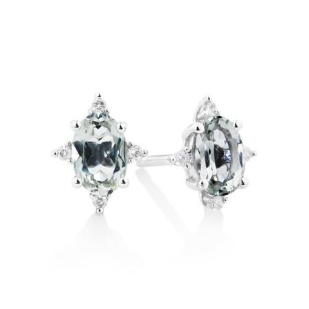 Stud Earrings With  Green Amethyst & Diamonds In 10kt White Gold