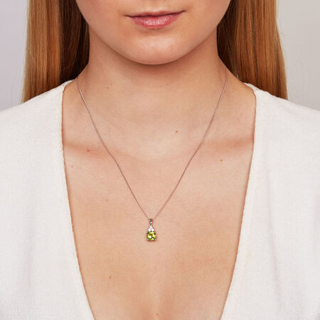 Pendant with Peridot & Created White Sapphires in Sterling Silver