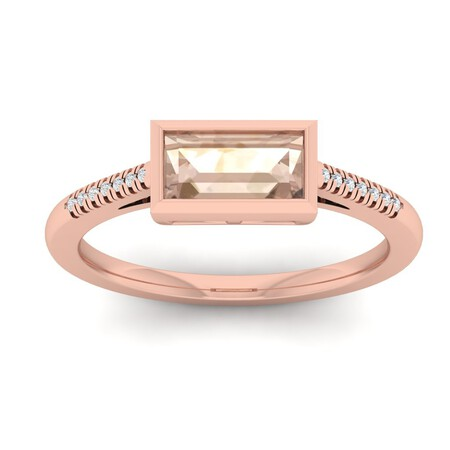 Ring with Morganite & Diamond in 10kt Rose Gold