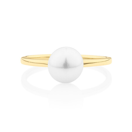Ring with Cultured Freshwater Pearl in 10kt Yellow Gold