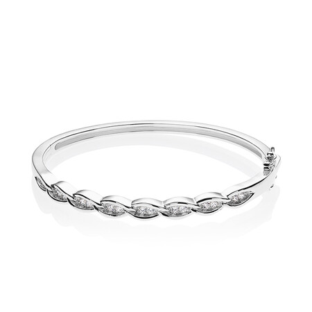 Crossover Bangle with White Cubic Zirconia in Sterling Silver