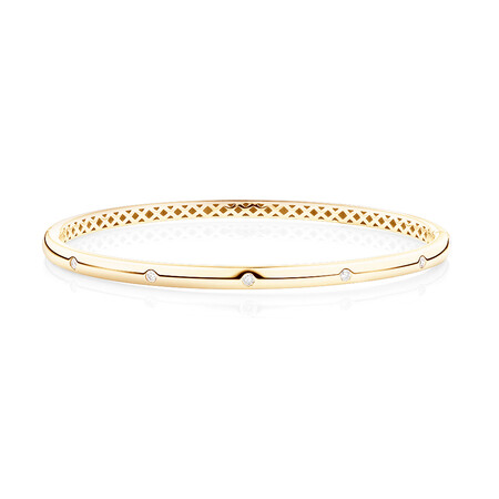 Hammer Set Bangle With 0.15 Carat TW Diamonds In 10kt Yellow Gold