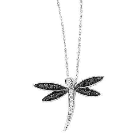 Online Exclusive - Pendant with 0.16 Carat TW of White & Enhanced Black Diamonds in 10kt White Gold