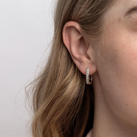 Huggie Earrings with 0.34 Carat TW of Diamonds in 10kt Yellow Gold