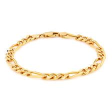 """23cm (9.5"""") Men's Figaro Bracelet in 10kt Yellow Gold"""
