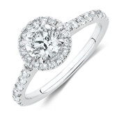 Engagement Ring with 1.38 Carat TW of Diamonds in 14kt White Gold