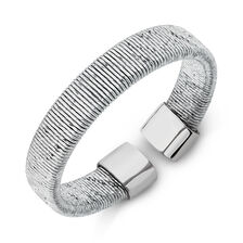 Patterned Ring in Stainless Steel & Sterling Silver