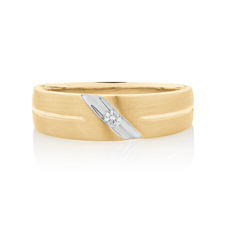 Men's Ring with Diamonds in 10kt White & Yellow Gold