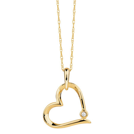 Heart Pendant with A Diamond in 10kt Yellow Gold