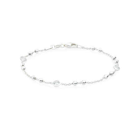 """18cm (7"""") Ball Bracelet with Cubic Zirconia in Sterling Silver"""