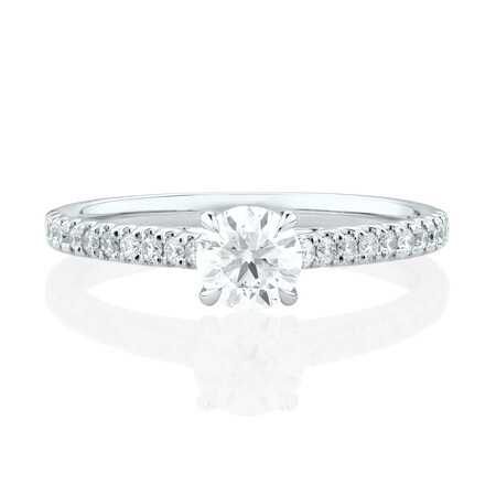 Engagement Ring with 0.78 Carat TW of Diamonds in 14kt White Gold