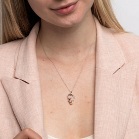 Small Knots Pendant with 0.13 Carat TW of Diamonds in Sterling Silver & 10kt Rose Gold