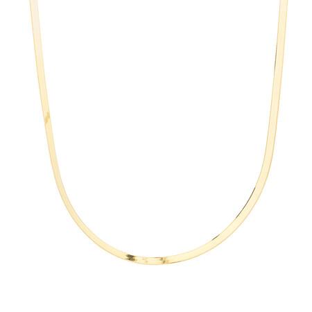 "Adjustable 43-48cm (16-18"") Herringbone Snake Chain In 10kt Yellow Gold"