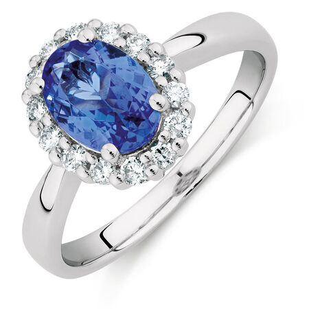 Ring with Tanzanite & 1/4 Carat TW of Diamonds in 10kt White Gold