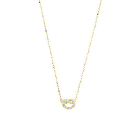 Mini Knots Necklace with 0.10 Carat TW of Diamonds in 10kt Yellow Gold