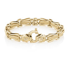 "19cm (7.5"") Gate Bracelet with Diamonds in 10kt Yellow Gold"