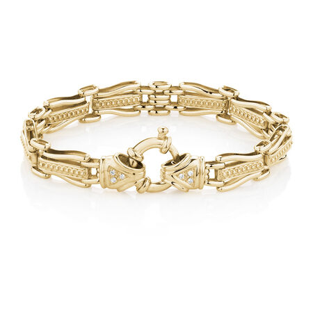 """19cm (7.5"""") Gate Bracelet with Diamonds in 10kt Yellow Gold"""