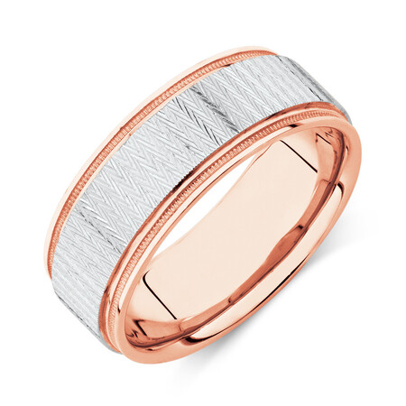 8mm Patterned Ring in 10kt White & Rose Gold