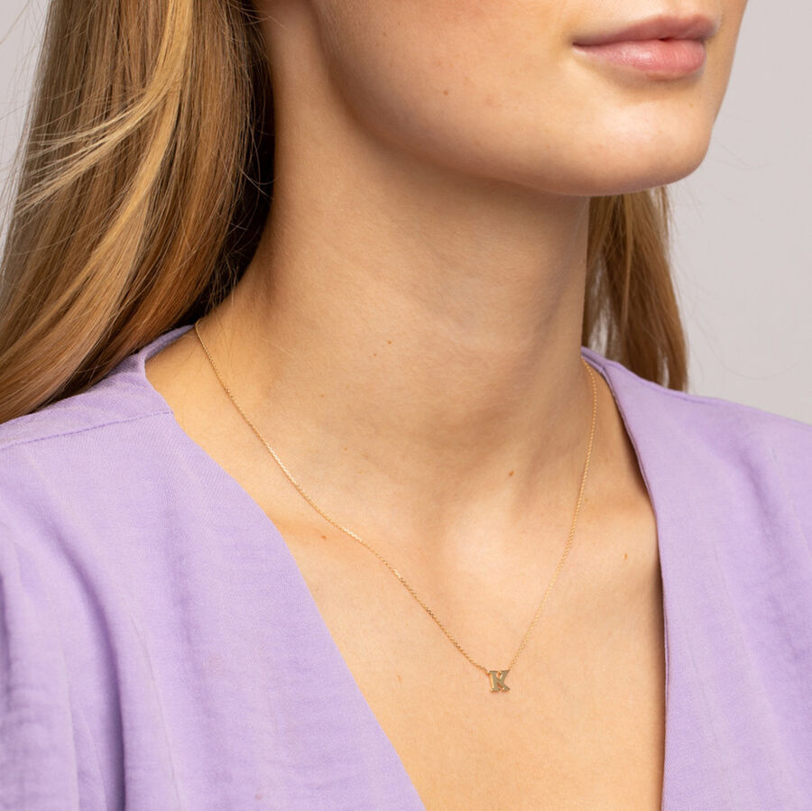 """""""K"""" Initial Necklace in 10kt Yellow Gold"""